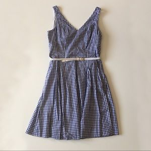 Nine West Blue Gingham Sleeveless Belted Dress 10